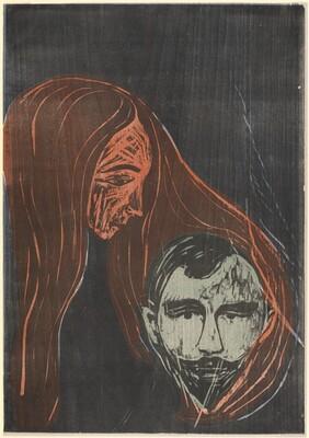 Man's Head in Woman's Hair (Mannerkopf in Frauenharr)