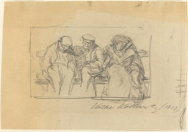 Four People Seated on a Bench