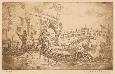 Procession Over Bridge by Ducal Palace, Venice