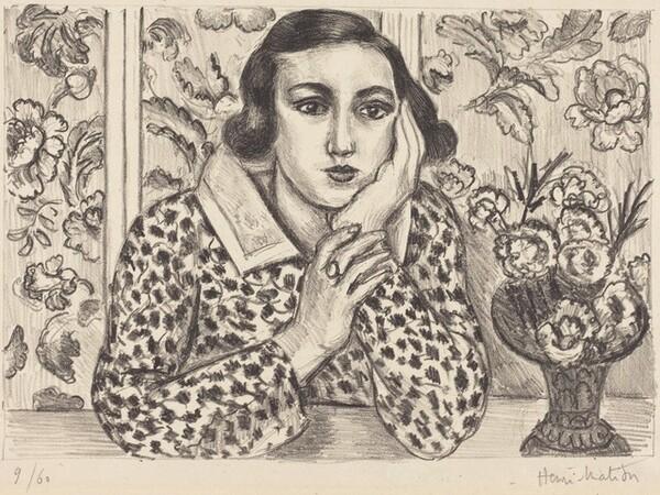 Young Girl Leaning against a Flowered Screen (Jeune fille accoudée au paravent fleuri)