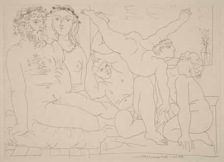 Sculptor and His Model with a Sculpture Group of Athletes (Sculpteur et son modèle avec un groupe sculpté représentant des athlètes)