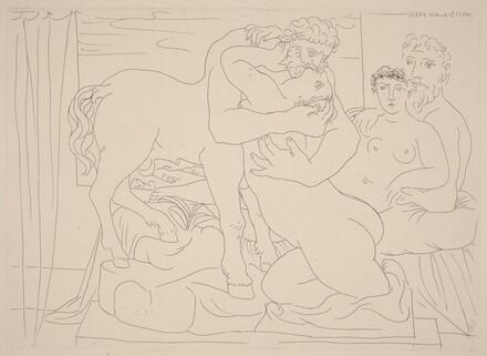 Sculptor and Model with a Sculpture Representing a Centaur Kissing a Woman (Sculpteur et son modèle avec un groupe sculpté représentant un centaure embrassant une femme)