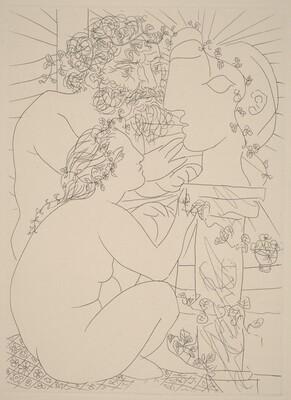 Sculptor with his Model, a Sculpture of Her Head, and a Bowl of Anemones (Sculpteur avec son modèle, sa sculpture et un bol d'anémones)