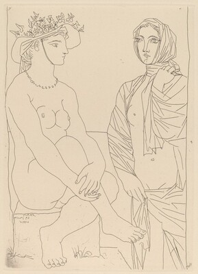 At the Bath. Woman in a Hat with Flowers and Woman Draped in a Towel (Au bain)