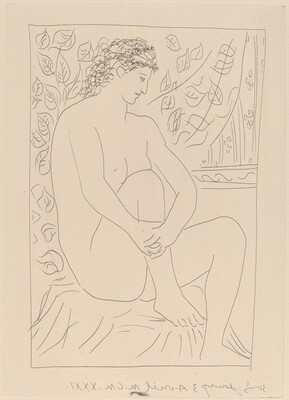 Nude Seated before a Curtain (Femme nue assise devant un rideau)