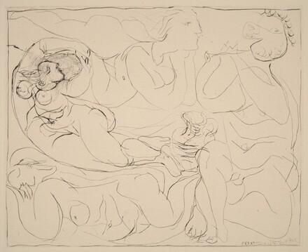 Flautist and Three Nudes (Flûtiste et trois femmes nues)