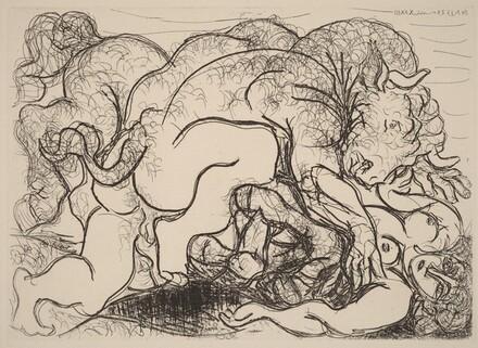 Minotaur Loving a Female Centaur (Minotaure amoureux d'une femme-centaure)