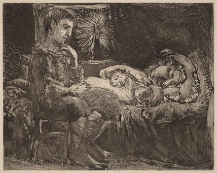 Boy and Sleeping Girl in Candlelight (Garçon et dormeuse à la chandelle)