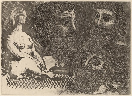 Marie-Thérèse as an Idol and Three Bearded Greeks (Marie-Thérèse en idole et trois grecs barbus)