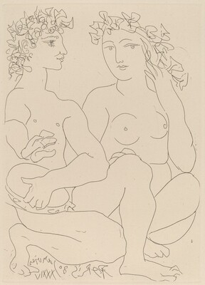 Young Bacchus with a Tambourine, with a Bacchante (Jeune Bacchus au tambourin, avec un Bacchante)