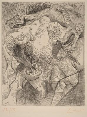 Bull, Horse, and Reclining Woman II (Femme torero II)