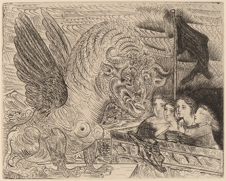 Winged Bull Watched by Four Children (Taureau ailé contemplé par quatre enfants)