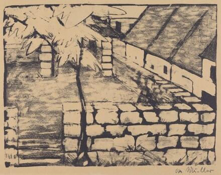 Courtyard with Tree and Houses (Ummauerter Hof mit Baum und Dachern)