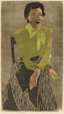 Woman in a Green Blouse, Seated