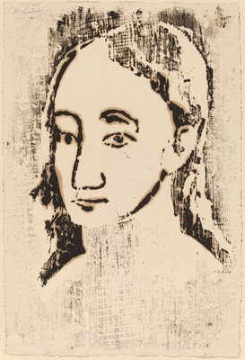 Young Woman Facing Left, Three-Quarter View (Buste de jeune femme)