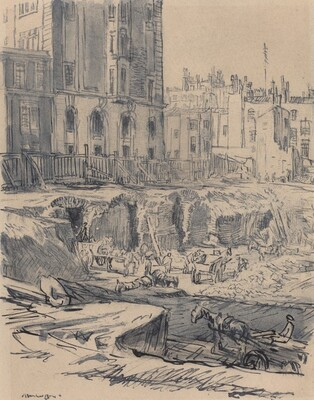 Excavating for Central Hall, Westminster