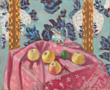 Still Life with Apples on a Pink Tablecloth