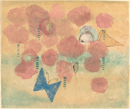 Poppies with Butterfly and Self-Portrait