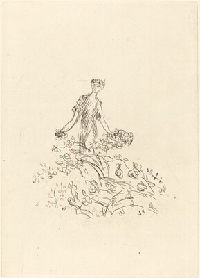 Woman Gathering Flowers