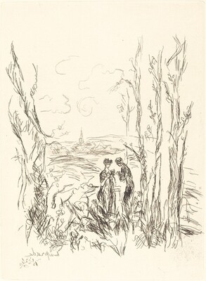 Two Figures between Trees