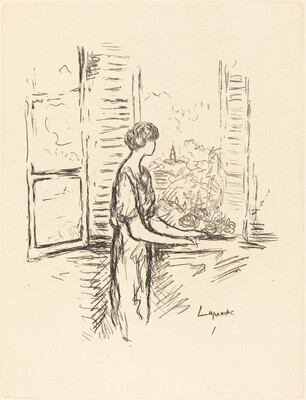 Woman Standing by an Open Window