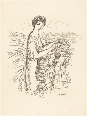 Woman Standing beside a Rosebush
