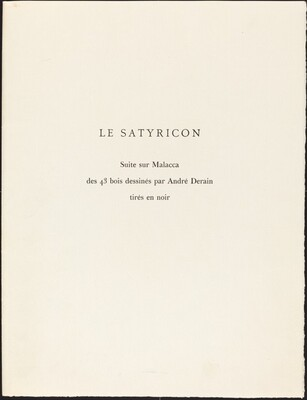 Woodcut Suite from T. Petronius Arbiter's  Le Satyricon