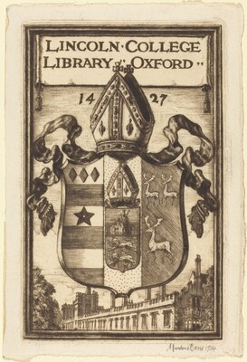 Bookplate of Lincoln College, Oxford