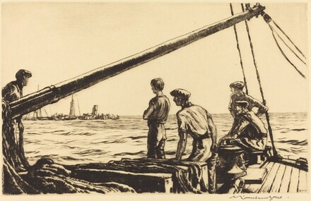 Salvage Men Approaching a Torpedoed Ship