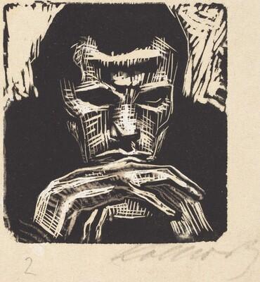 Small Male Head with Hands II (Kleiner Mannerkopf mit Handen II)