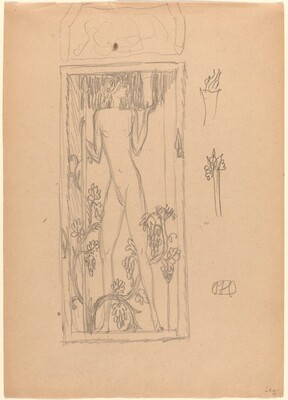 Standing Female Nude, with Floral Design