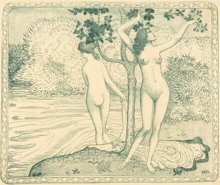 Two Nude Bathers under a Tree on the Water Bank (Deux baigneuses nues sous un arbre au bord de l'eau)