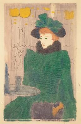 Au café - La jeune femme en vert