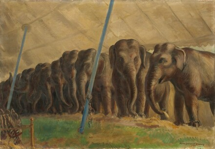 SELLS BROS CIRCUS FLYING OVER ELEPHANTS POSTER PAINTING REAL CANVASART PRINT