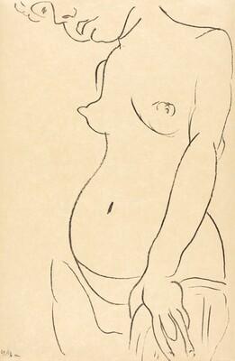 Nude in Three-Quarters with Part of Her Head Cropped Off (Nu de trois-quarts, une partie de la tête coupée)
