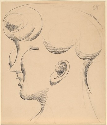 Woman's Head in Profile, Facing Left