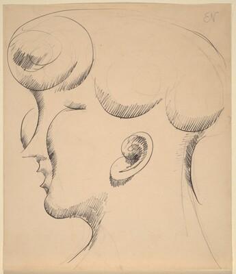 Woman's Head in Profile, Facing Left