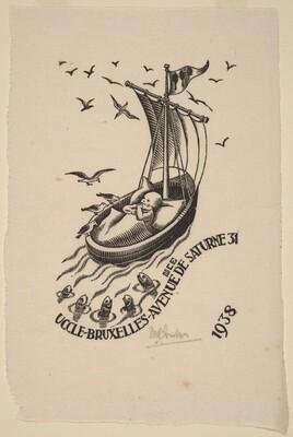 Birth annoucement card of Jan Escher