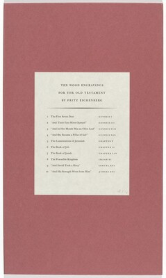 Ten Wood Engravings for the Old Testament
