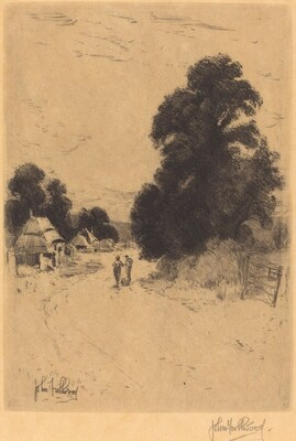 Landscape - Trees, Road, Huts