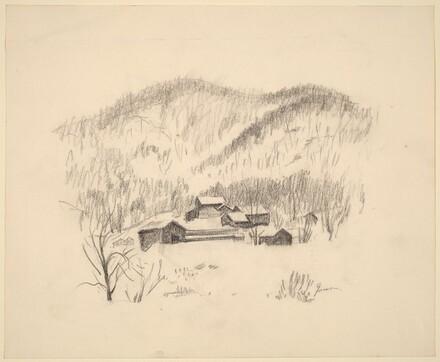 Farm, Snow, Hills