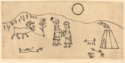 Folk Scene: Man and Wife, Dog, and Reindeer