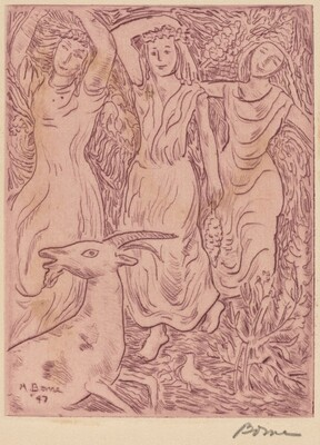 Three Dancing Girls with a Goat
