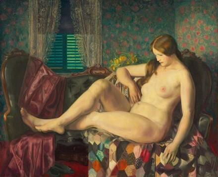 Nude with Hexagonal Quilt