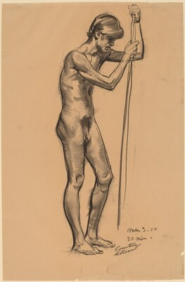Nude Indian, Leaning on a Pole
