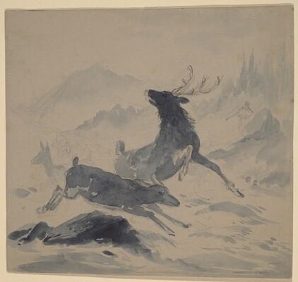 Hunter and Fleeing Deer