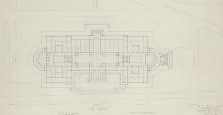 Early Plan Study for Site on Axis of 6th Street