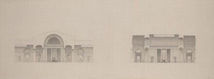 Early Studies:  Sections through Central Hall; Scheme without Dome