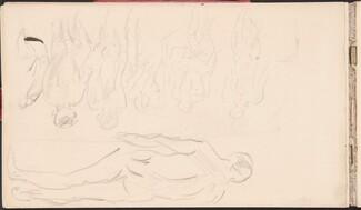 Male Portrait Study and Notes (Männerakte in Rückenansicht in einem Bad) [p. 18]