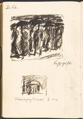 Zwei Skizzen, Bezeichnungen (Two Sketches with Inscriptions) [p. 43]